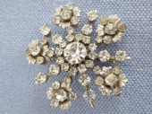 1950s Floral Brooch in White Diamante with large central crystal (sold)